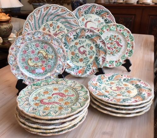 HAND PAINTED POTTERY 2 SETS/6 PLATES $240 EACH SET 2 CHARGERS $60 EACH
