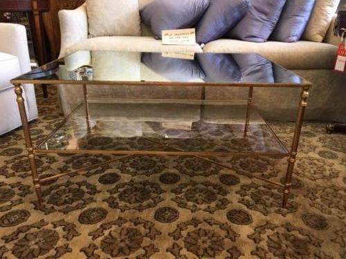 """2-TIER MIRRORED TOP COFFEE TABLE 39""""W X 27.5""""D X 19.5""""H $575"""