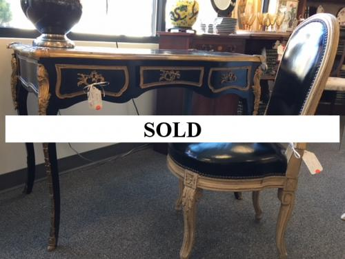 """FRENCH STYLE BLACK LACQUER ORMOLU DESK 42""""W X 24""""D X 30""""H $795 BLACK LEATHER FRENCH CHAIR 18""""W X 16""""D X 36""""H $250"""