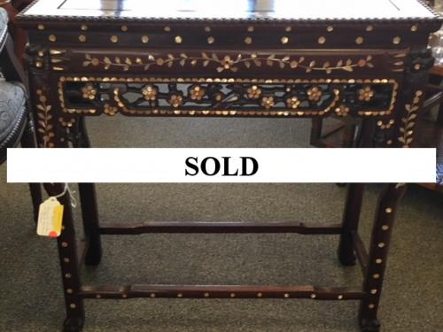 """MOTHER OF PEARL INLAY ASIAN CONSOLE TABLE 30""""W X 12""""D X 30""""H $395"""
