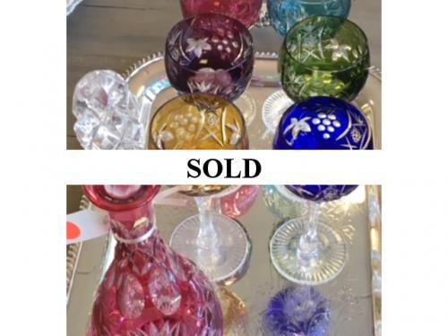 SET OF 6 BOHEMIAN GLASSES W/ DECANTER $195