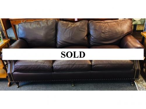 """HANCOCK MOORE BROWN LEATHER 3-SEATER SOFA WITH NAILHEADS 84""""W X 38""""D $1495"""