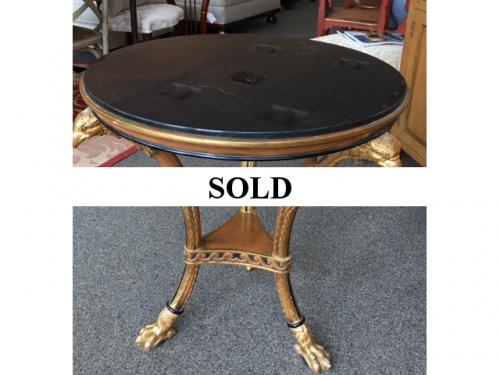 """ROUND MARBLE TOP TABLE WITH EAGLE DECORATION 28""""Round X 29""""H $495"""