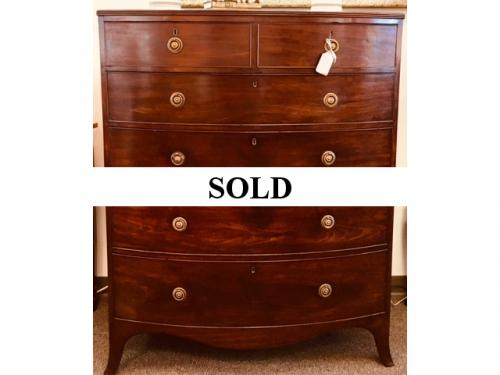 """ENGLISH MAHOGANY 2 OVER 4 ANTIQUE CHEST 42""""W X 22.5""""D X 53.5""""H $2450"""