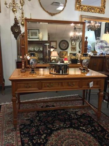 "ENGLISH BEECHWOOD DRESSING TABLE W/ BEAUTIFUL MIRROR 54""W X 26.5""D X 62""H (w/ mirror) $1895"