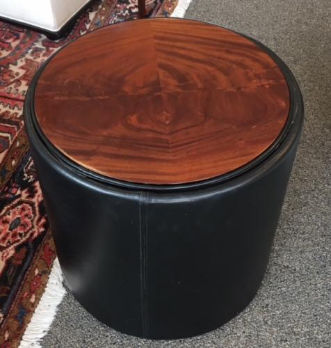 """RD WOOD TABLE W/ LEATHER TRIM 19"""" DIAMETER X 19""""H $150"""