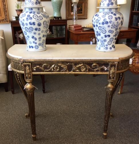 """ANTIQUE FRENCH CONSOLE W/ MARBLE TOP 46""""W X 20""""D X 34.5""""H $795"""