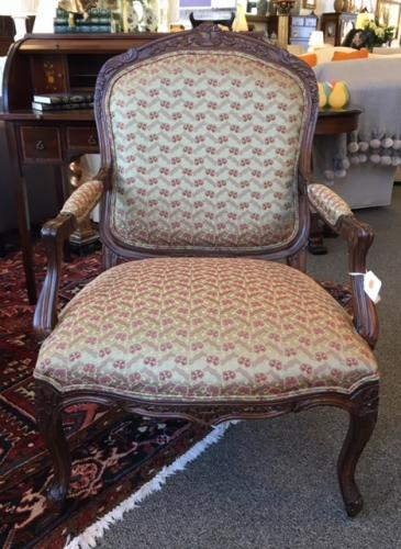"""FRENCH STYLE ARM CHAIR 27""""W X 21""""D X 40""""H $295"""