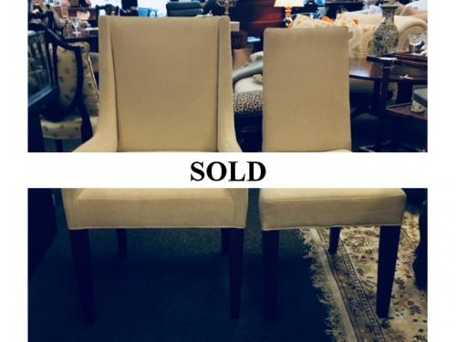 """SET OF 6 (4+2) BEIGE UPHOLSTERED LEE INDUSTRIES DINING CHAIRS SIDE-18""""W X 20""""D X 38""""H ARM-23""""W X 21""""D X 40""""H $595"""
