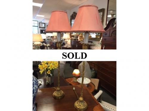 """PR BRASS BUFFET LAMPS 9.5""""D X 31.5""""H $295 PAIR"""