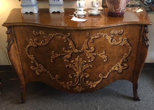 """ITALIAN HAND PAINTED WALNUT CABINET 55""""W X 23.5""""D X 34.5""""H CONSIGNED AT $2295 REDUCED TO SELL $1595"""
