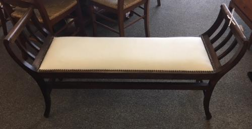 """BENCH W/ CURVED ARMS BEIGE UPHOLSTERED SEAT 48""""W X 14""""D X 26""""H $150"""