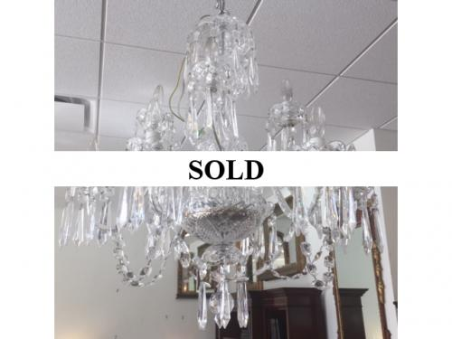 """SIGNED WATERFORD 9-LIGHT CHANDELIER 27""""DIAMETER X 31""""H $1995"""