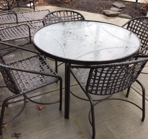"""42"""" ROUND BROWN JORDAN KANTAN COLLECTION BRONZE TABLE W/ 4 CHAIRS RESTORED $695"""
