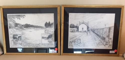 """TWO 1928/29 DRAWINGS BY WHITMAN BAILEY  GR. RAILROAD STATION INDIAN CHASE HARBOR 17""""W X 15""""H $60 EACH"""