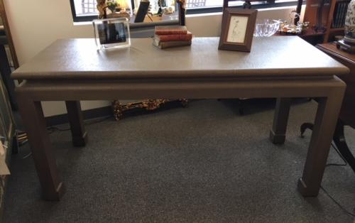 """GREY LINEN ASIAN STYLE WRITING TABLE 60""""W X 25""""D X 30""""H $795"""