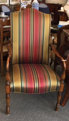 """SILK STRIPED UPHOLSTERED ARM CHAIR BY SOUTHWOOD 24""""W X 22""""D X 45""""H $250"""