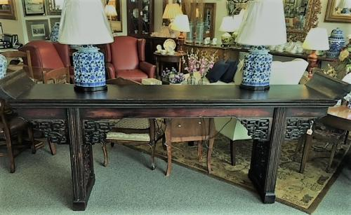 """CHINESE ELM ALTAR TABLE SINGLE PLANK TOP W/ EARS LATE 18th CENTURY 104""""W X 19""""D X 38""""H $1795"""