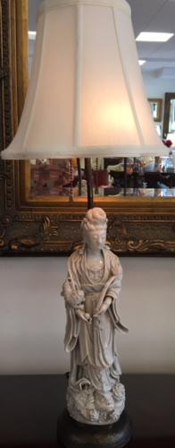"""CHINESE BLANC DE CHINE LAMP 5""""DIAM X 28""""H $195"""
