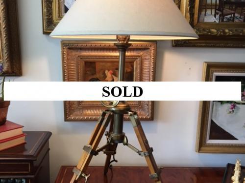 "WOOD/BRASS TRIPOD TABLE LAMP 21""DIAMETER X 36""H $150"