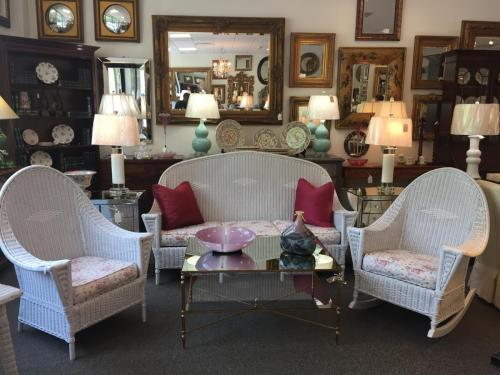 """COLLECTION OF HEYWOOD WAKEFIELD ANTIQUE WHITE WICKER MOVE-IN CONDITION CHAIR: 30""""W X 23""""D X 42""""H SOFA: 71""""W X 24""""D X 42""""H ROCKER: 30""""W X 35""""D X 40""""H $1495"""