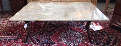 """MARBLE TOP COFFEE TABLE W/ BRONZE BASE 53""""W X 38""""D $795"""
