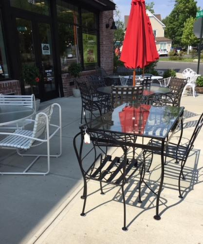 """VINTAGE IRON/GLASS TABLE W/ 4 CHAIRS 30""""W X 48""""L $695"""