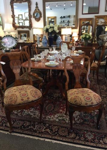 """LIGHT FINISH MAHOGANY DOUBLE PEDESTAL DINING TABLE W/ 8+2 BURL WALNUT CHAIRS 46""""W X 80""""L 2 LEAVES-20""""W EACH $1795"""