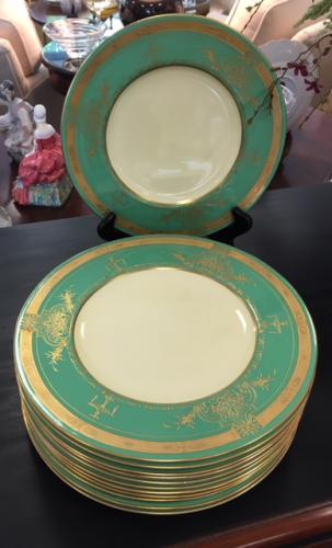 SET OF 12 GREEN/GOLD ROYAL WORCESTER DINNER PLATES $145