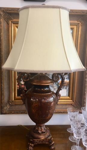 """URN LAMP W/ HANDLES 17""""W X 15""""D X 30""""H $99"""