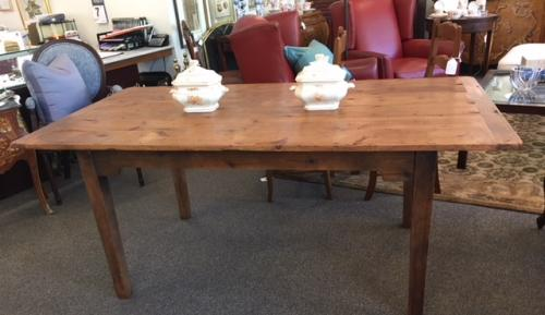 """ENGLISH FARMHOUSE TABLE (STAINED IN WARM FRENCH COLOR) W/ BREADBOARD ENDS 6'L X 38""""W X 31""""H $2695 ALSO AVAILABLE 7'L - $2795 8'L - $2995"""