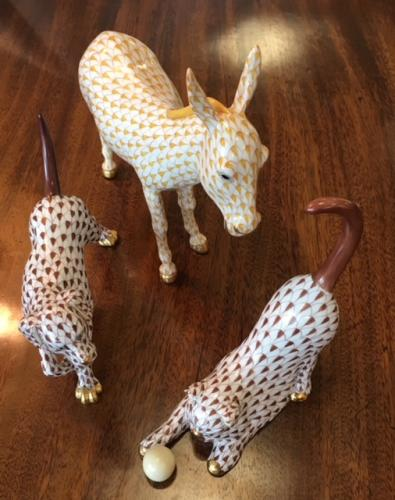 HEREND DOG-CHOCOLATE $150 HEREND DONKEY-BUTTERSCOTCH $225 HEREND CAT W/ BALL-CHOCOLATE $150