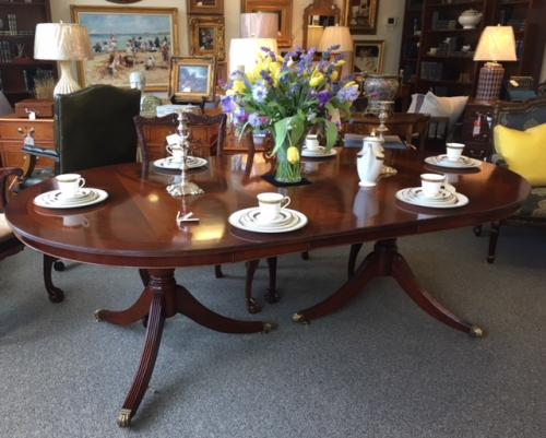 """ENGLISH CUSTOM SIZE MAHOGANY DOUBLE PEDESTAL DINING TABLE 52""""W X 6'L X 30""""H - 2 LEAVES-17.5""""W EACH $1995"""