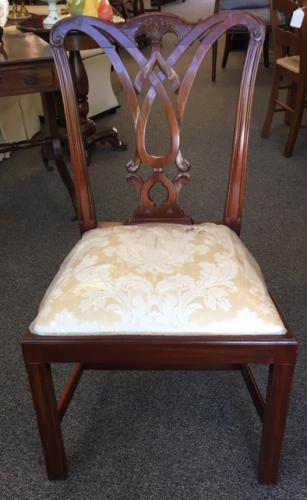 """ENGLISH MAHOGANY SET OF 8 CHIPPENDALE CHAIRS 6+2 20""""W X 18""""D X 36""""H REG. $7995 NOW $2995"""