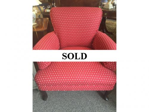 RED WITH WHITE STARS UPHOLSTERED CHAIR $295