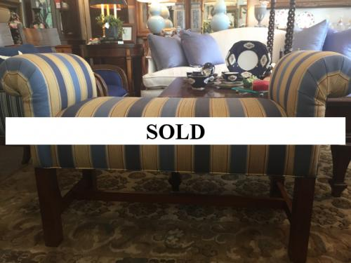 SMALL STRIPED ROLLED ARM BENCH $195