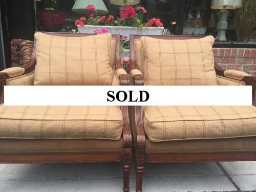 ETHAN ALLEN PAIR OF FRENCH STYLE UPHOLSTERED CHAIRS $595