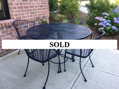 """VINTAGE 48"""" NAVY OUTDOOR ROUND TABLE WITH 4 CHAIRS-$850"""