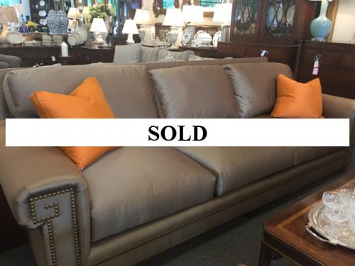 """CONTEMPORARY TAUPE SOFA WITH NAILHEADS 8-1/2' W/30"""" H/40""""D - $995"""
