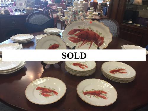 SET OF 12 LIMOGE LOBSTER PLATES WITH SERVING PLATTER c1900 - $195