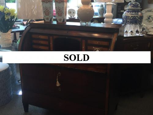 """CONTINENTAL CYLINDER DESK c1800 WITH THREE DRAWERS 44"""" W/44-1/2"""" H/24""""D - $795"""