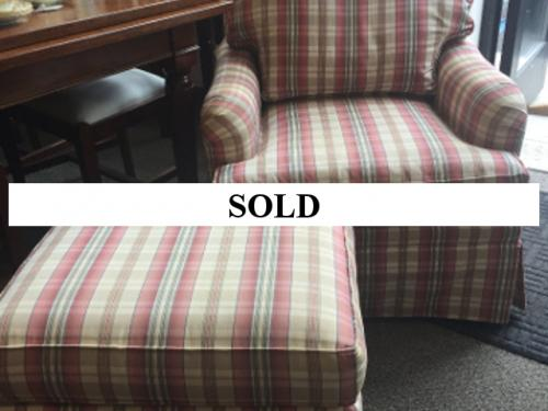 UPHOLSTERED PLAID SMALL CLUB CHAIR WITH OTTOMAN $295