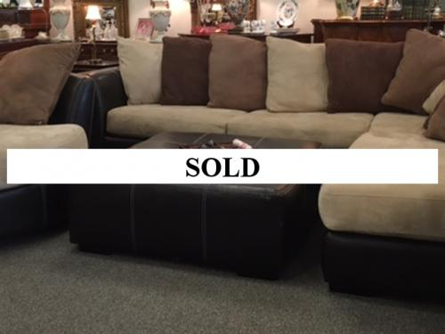 LEATHER SECTIONAL SOFA WITH OTTOMAN AND ROUND SWIVEL CHAIR $1795