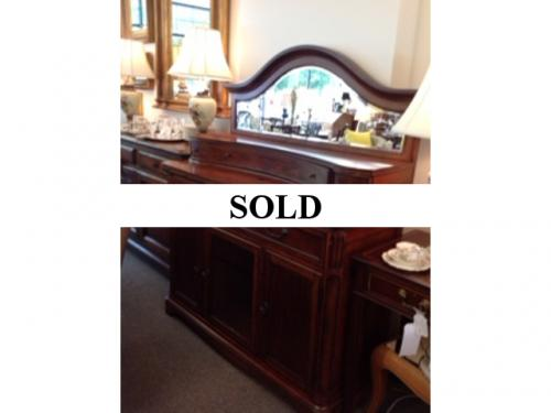 WALNUT SERVER WITH MIRROR ON TOP $695