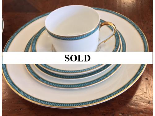 CERALENE LIMOGE BLUE LAURIER SERVICE FOR 12 – 5 PIECE PLACE SETTING PLUS OVAL VEGETABLE DISH AND GRAVY BOAT– RETAIL $2639 ESTATE TREASURES $595