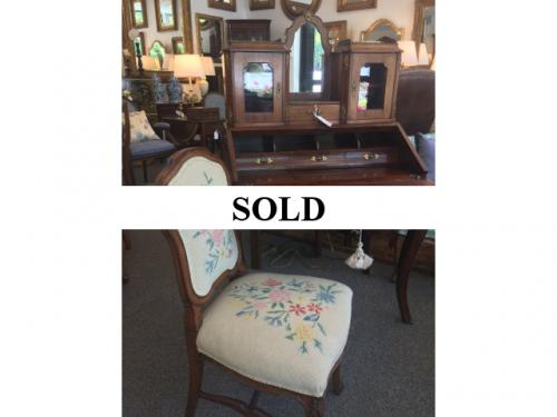 FRENCH ANTIQUE DESK WITH NEEDLEPOINT CHAIR $895