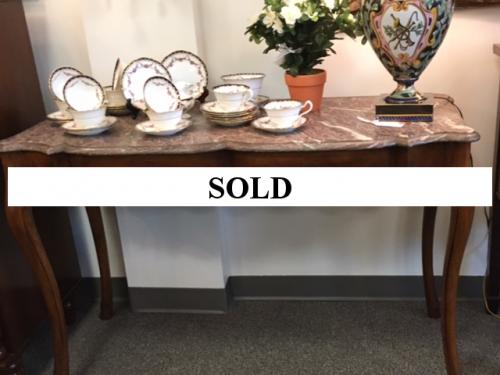 """47"""" MAHOGANY MARBLE TOP CONSOLE TABLE $495"""