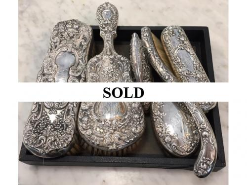 COLLECTION OF STERLING BRUSHES $120