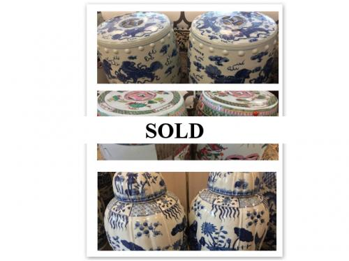 COLLECTION OF PORCELAIN GARDEN SEATS & VASES PAIR $295 - $450