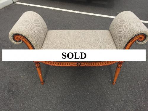 FRENCH BEIGE UPHOLSTERED BENCH WITH ROLLED ARMS $350